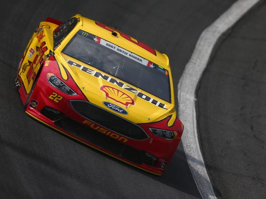Joey Logano, takes practice laps for the Monster Energy NASCAR Cup Series Coca-Cola 600 at Charlotte Motor Speedway on Thursday. Logano's car is honoring Staff Sgt. Javier Ortiz-Rivera, a Marine from Rochester who was killed in Afghanistan in 2010, during this weekend's Coca-Cola 600.