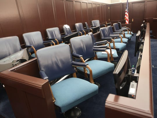 The jury box at federal court in Burlington.