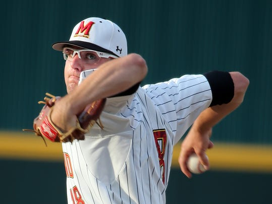 Maryland pitcher Mike Shawaryn (18) delivers during an NCAA college baseball tournament regional game against South Carolina in Columbia, S.C., Saturday, May 31, 2014. (AP Photo/Stephen B. Morton)