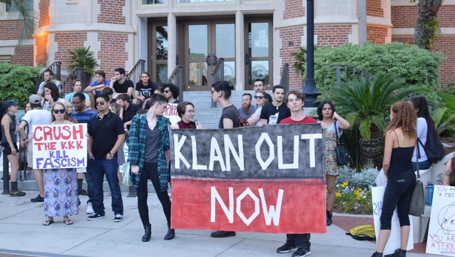 Tallahassee residents marched to the capitol on Thurs., Apr. 9 in protest of the Klan.