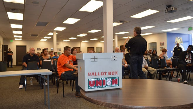 Members of Teamsters Local 853 in San Leandro, Calif., at an Aug. 1, 2015 vote on a wage and benefits proposal.