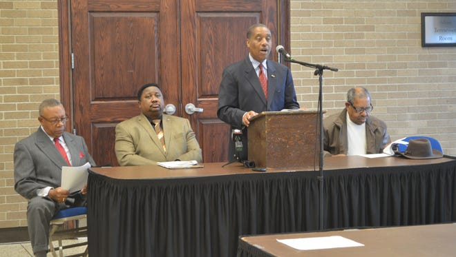Dr. Jerry Woods speaks to the media about the 100 Black Men of West Tennessee's 23rd Annual Scholarship Benefit Gala on Monday at the Carl Perkins Civic Center.