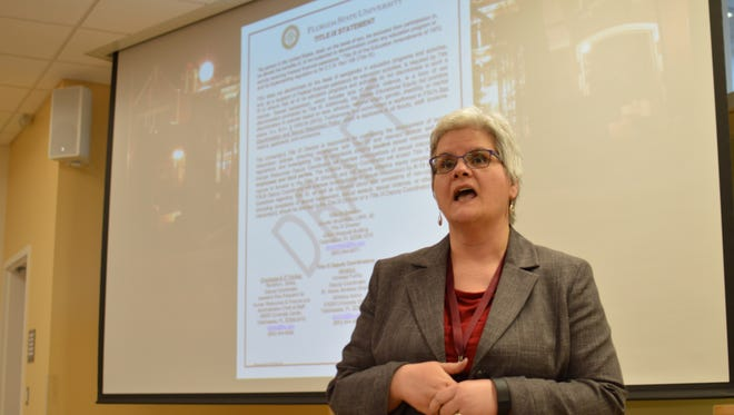 """Jennifer Broomfield, FSU's Title IX director, speaks to students about Title IX policies and the """"kNOw MORE"""" campaign."""