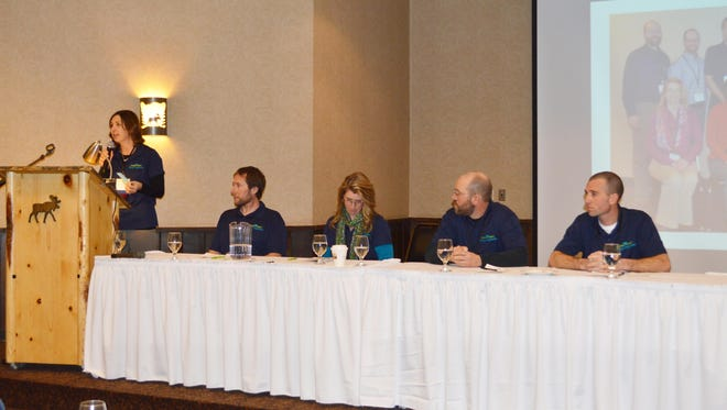 FarmFirst Young Cooperators participating in a producer panel on Saturday of the cooperative's business meeting shared information about themselves, their farm, and what they hope to accomplish through the Young Cooperator program at FarmFirst Dairy Cooperative.