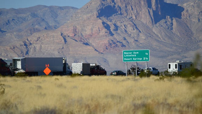 Traffic backs on Interstate 15 near the exits to Beaver Dam and Littlefield in this 2014 file photo.