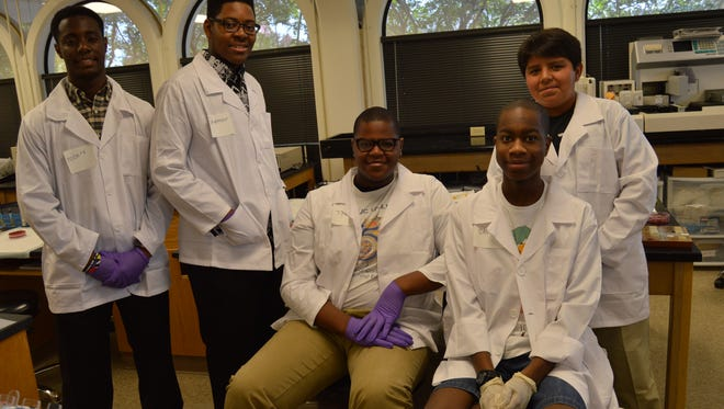 The LaMed program is open to high school males from Rapides Parish. Pictured from left: Robert Sneed, Shemar Calvin, Tyjul Gaines, Caleb Cooper, and Alex Guerrero.