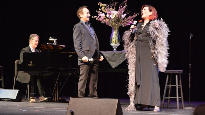 "Jason Graae and Faith Prince perform ""Manhattan Madness"" on stage at the Coughlin-Saunders Performing Arts Center with musical accompaniment by Christopher Denny."