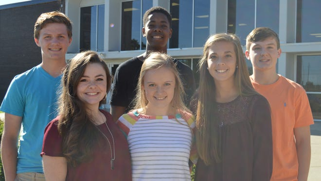 Junior Homecoming Court is, front row, from left: Desiree Alley, Sheridan Forker and Kaitlyn McCormick. Back row, from left: Carson Ellis, Jett Savage and Cole Hagan.