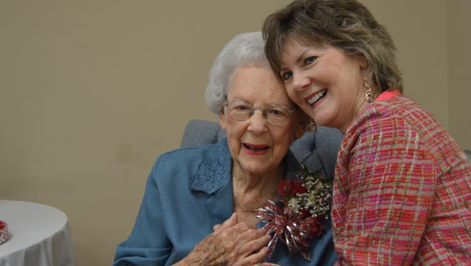 Mabel Smith and her daughter Susan McLaughlin. Smith celebrated her 99th birthday surrounded by hundreds of friends, family, and former students. (Oct 1, 2016)