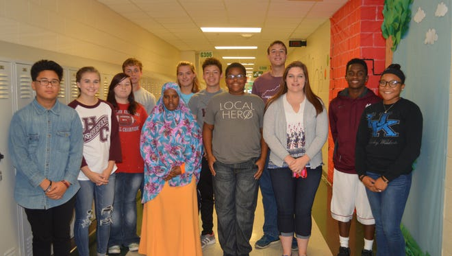 Henderson County High School's October students of the month are, from left: Isaac Somo, Cayce Chaykowsky, Tabitha Stokes, Caleb Coomes, Nura Omar, Paige Woodard, Jordan Toribio, Jeremiah Kidd, Brandon Glazebrook, Brianna Scott, Kevontay Whitlock and Mallory Williams.  Not pictured:  Will Steiner.