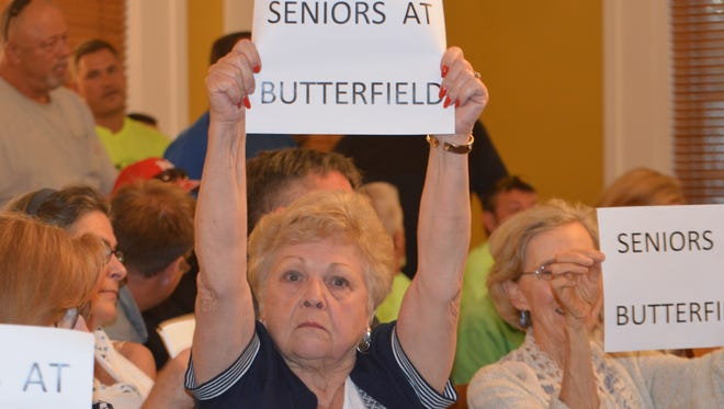 Seniors came to an August meeting in the Historic County Courthouse in Carmel to support the senior center project.