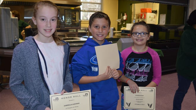 Mary Alimenti, principal, Edgarton Christian Academy, announced the honor roll students and presented each with a certificate in front of the Edgarton student body. Sixth grader Gabriella Hartman, 12, of Vineland, fifth grader Brayden Brown, 10, of Newfield, and fifth grader Caleigh Ryan, 10, of Newfield. For academy information, call (856) 697-7300, ext. 304.