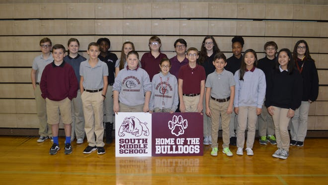 South Middle November students of the month are, front row from left: Luke Staples, Keegan Donnetta, Nathan Smith, Sydney Sutton, Marc Carter, Lane Sutton, Marley Jo Walker, and Maleigha Shelton. Back row: Anthony Estes, Reagan Rudd, A'khia Amos, Kate Reusch, Dain North, Mahki Riley, Emma Gibson, Kristina Phipps, Skylar Moore and Marcella Archuleta.