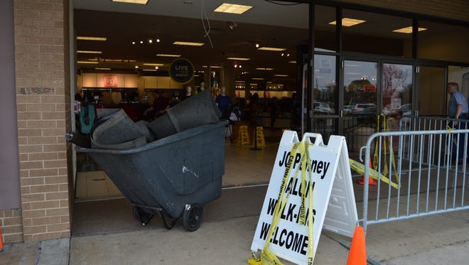 Damages to the front entrance of JC Penney after a car plowed through the doorway, Jan. 21.
