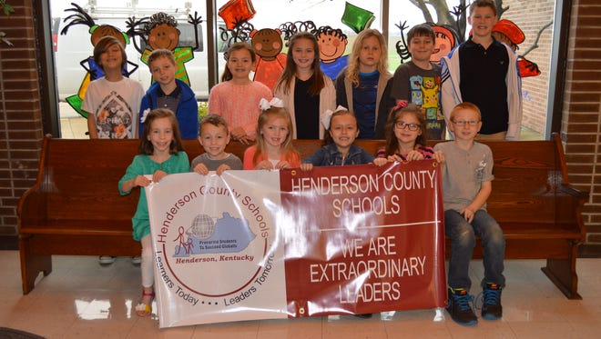 Niagara Elementary's February leaders of the month are, front row from left: Lily Moore, Kaden Risley, Addison Mackey, Eva Gilford, Peyton London and Tristen Maddox. Back row: Brayden Ratliff, Hunter Tennyson, Allie Green, Nadia Heitkemper, Isaac Krampe, Ben Beck and Keaton Howard. Not pictured: Carrie Crowley, Audree Doss and Evie Estes.