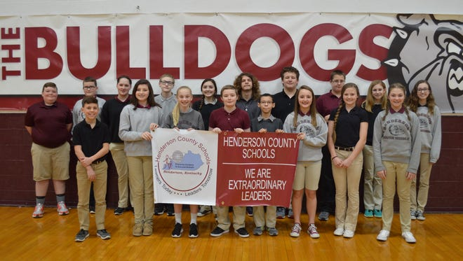 South Middle's March students of the month are, front row from left: H.P. Hazelwood, Kassi Evans, Illana Hall, Carter Dill, Samuel Stevens, Savannah Lacer, Cecilia Palummo and Piper Brewer. Back row: Aiden Grace, Sam Burns, Luci Calvert, Kupper Cox, Maria Hadjisavva, Matt Woodard, Drew Neal, Kane Smith, Emmi Kirtley and Mollianne Major.