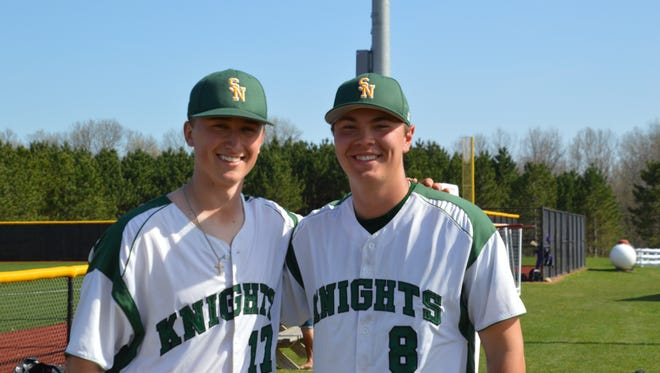 Former De Pere teammates Tyler Rouze (left) and Carson Jacques have become best friends at St. Norbert College.