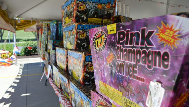 A variety of fireworks are displayed in the Walmart parking lot on June 27 in Iowa City.