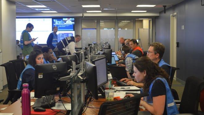 FEMA's National Response Coordination Center in Washington, D.C. was in full swing Sunday.