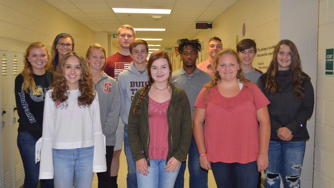 Henderson County's September students of the month are, front row from left: Maggie VanZant, Maggie Privette and Ellie Martin. 2nd row: Salle Stovall, Clarke Sights, Adam Beickman, Cartel Gilbert, Jaxon Stauffer and Abigail Gardner. Back row: Hannah Watkins, Bryce Galloway and Will Steiner.