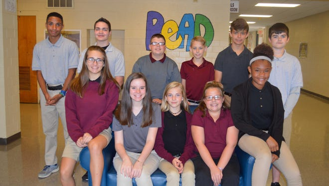 North Middle School's August students of the month are, front row from left: Claire Vowels, Morgan Bassett, Bentley Spainhoward, Molli Liggett and Sanay Carver. Back row: Sean McManus, Blayne Sands, Breighton Gogel, Ian Hill, Landon Berry and Memphis Mayes.