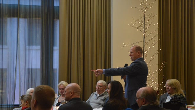 Wausau Police Chief Jeff Hardel introduces members of his family during his retirement celebration event on Thursday, Feb. 22, 2018, at the Jefferson Street Inn in Wausau.