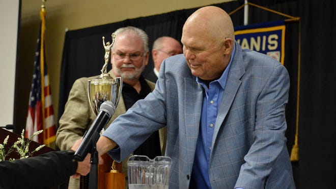 Corky Anderson, right and Doug Anderson left are the 2018 Tulare Farmers of the Year.  They were honored by the Tulare Kiwanis Club Tuesday at the International Agri-Center.