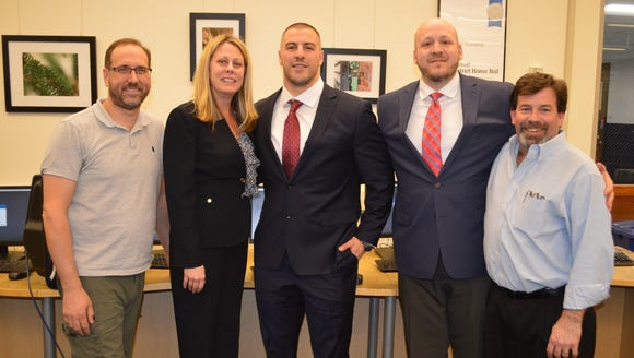 From left, Randolph Board of Education President Ron Conti, Superintendent Jennifer A. Fano congratulate Will Nahan, along with athletic director Jeff DiLollo and Board of Education Vice President Joe Faranetta.