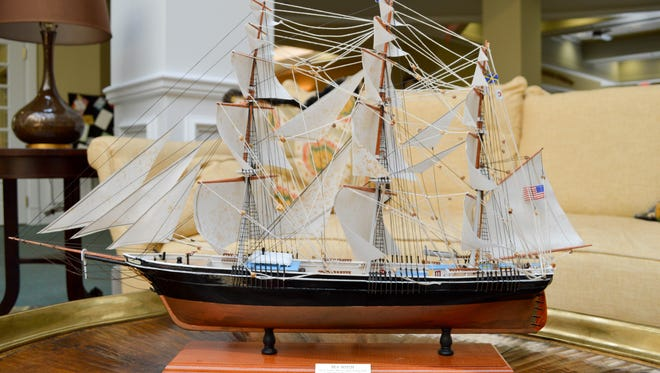 Dwayne Zunner, 88, constructed the replica of the Sea Witch, an American clipper ship launched in Manhattan in 1846. It is on display in the lobby of Indian River Estates in Vero Beach.