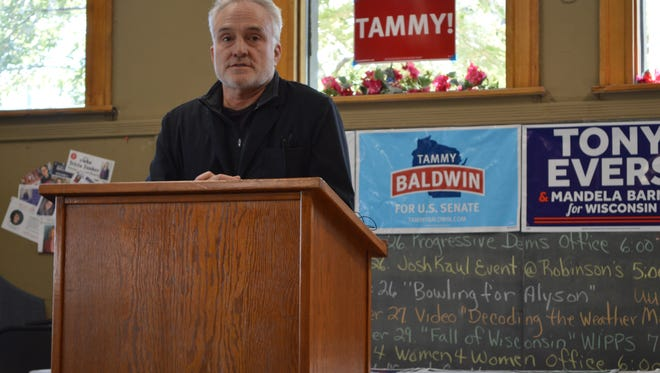 Actor Bradley Whitford speaks at the Marathon County Democrats' office in Wausau on Wednesday, Sept. 26, 2018.