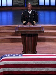 Memphis Police Director Toney Armstrong speaks during funeral services for Memphis Police officer Sean Bolton at Bellevue Baptist Church, Aug. 6, 2015 in Memphis.