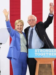 Sen. Bernie Sanders endorses Hillary Clinton for president at Portsmouth High School on July 12, 2016, in Portsmouth, N.H.