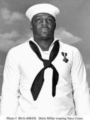 Dorie Miller was serving aboard the USS West Virginia when the Japanese attacked Pearl Harbor on Dec. 7, 1941. Miller, a cook, went to his battle station only to discover it had been torpedoed, so he was assigned to carry injured sailors to safety. He also manned a .50-caliber Browning anti-aircraft machine gun, which he had not been trained to operate, until he ran out of ammunition and was ordered to abandon ship.