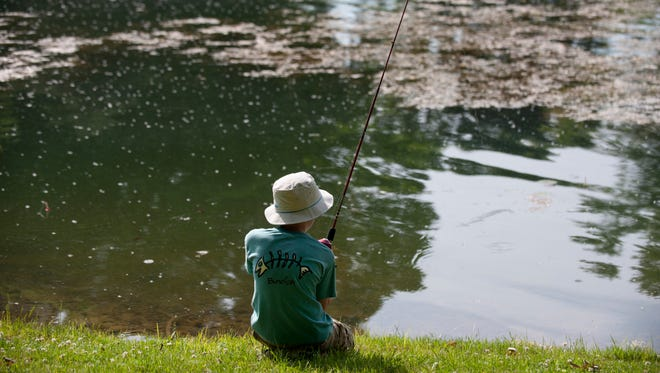 Holt resident Drew Desrochers, 8, fishes at Burchfield County Park in Holt on Saturday, June 11, 2016 during Youth Sports Day. June 11 and 12 is Michigan's Free Fishing Weekend. Hundreds gathered at the park for various outdoor activities, including a fishing derby for youth ages 4-16.
