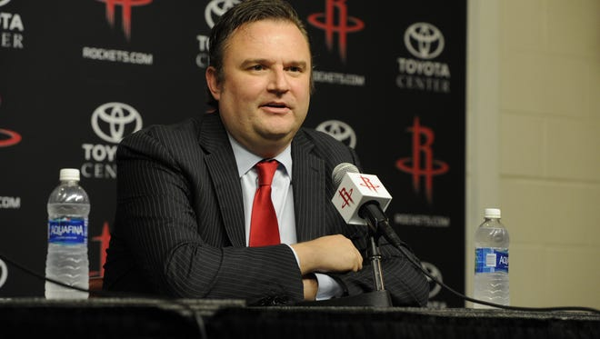 Houston Rockets GM Daryl Morey is interviewed as the Rockets announce D'Antoni as their new head coach on June 1, 2016 at