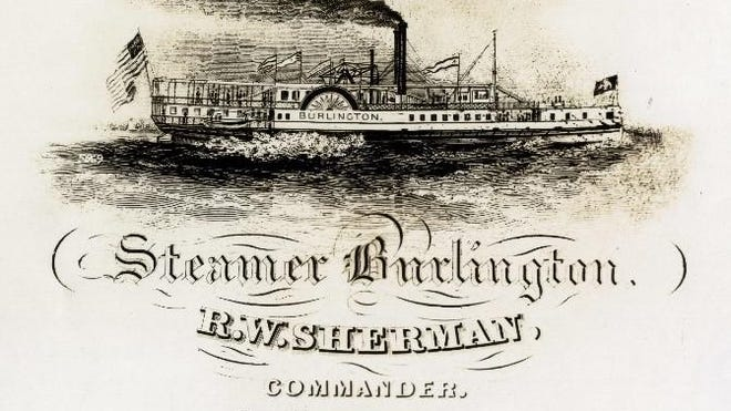 Reed Brown traveled on the steamer Burlington to Whitehall, N.Y., on the first leg of his journey. It was built at Shelburne Harbor in 1837 for $75,000. The 190-foot-long boat had a displacement of 405 tons and could travel at 15 miles per hour.