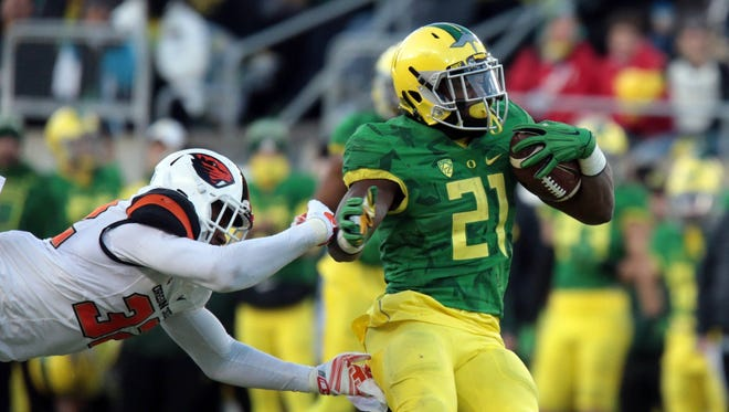Oregon running back Royce Freeman enters the season as a Heisman Trophy candidate after rushing for 1,836 yards and 17 TDs in 2015.