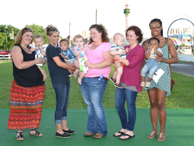 Reagan Charles West, 11 month old, with Ashleigh West of Castalian Springs; Isiah Josiah Welch, 4 month old, with Britney Walker Welch of Bethpage; Bryson Key, 11 month old, with Stephanie Maddox of Portland; Jensen Graham Hathcote, 11 month old, with Hollye Hathcote of Castalian Springs; Levi Burch, 7 month old, with Faith Williams of Gallatin.