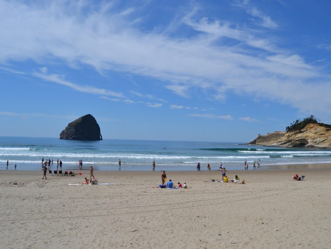 Pacific City beach full of people on an 80 degree day in May.