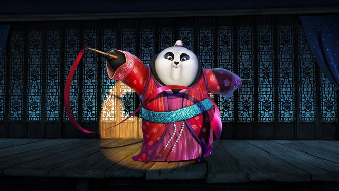 "Mei Mei, voiced by Kate Hudson, performs a ribbon dance in a scene from ""Kung Fu Panda 3."""