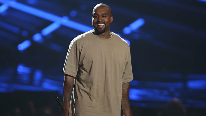 Kanye West accepts the video vanguard award at the MTV Video Music Awards at the Microsoft Theater.