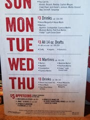 Daily specials at TGI Fridays.