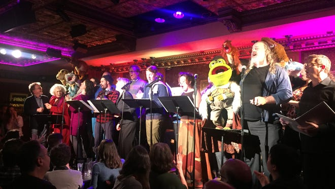 "Paul Williams (left) and the cast of ""Emmet Otter's Jug-Band Christmas in Concert"" on Dec. 15 at Feinstein's/54 Below in New York City."