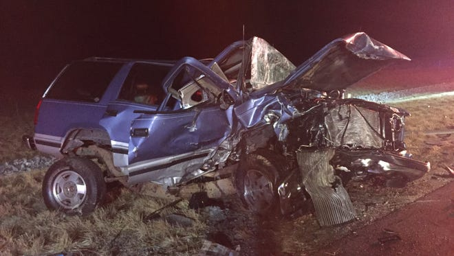 One of the vehicles in a fatal three-vehicle collision in Pike County, Indiana, on Friday, Feb. 12, 2016.