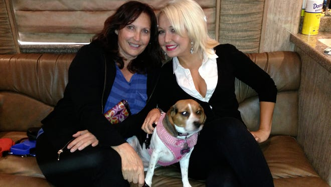 "Julie Moriva, left, a songwriter  who lives in Crivitz, has been co-writing songs with Nashville country singer Meghan Linsey for years. The two co-wrote ""Change My Mind,"" the song Linsey performed on the Season 8 finale of ""The Voice."" She was the runner-up winner of that season."