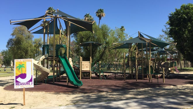 The City of Palm Springs held a ribbon-cutting for Sunrise Park's new handicap accessible playground on June 13, 2016.