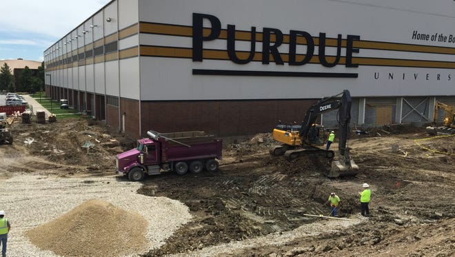 Excavation at the site of the Purdue Football Performance Complex is nearly complete, with concrete coming in about two weeks. Steel should arrive at the build site in August.