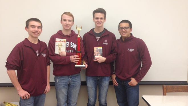 Henderson County's A-team finished second overall at the WKU Hilltopper Invitational. Pictured from left: Harrison Jenkins, Isaac Oettle, Will Hardy and Zachary Beickman.
