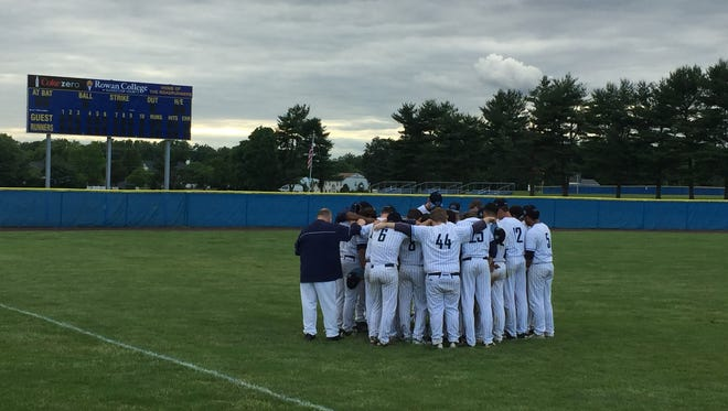 The Highland baseball team huddles after losing to Allentown 7-4 in the Group 3 state semifinal Wednesday.