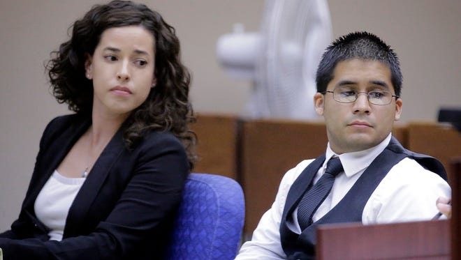 Former Eastwood High School teacher Christopher Miranda, 26, sits with attorney Daniela Chisolm during his trial Wednesday. He is accused of sexually assaulting three teen girls, according to testimony. Prosecutors and defense lawyers rested their cases Wednesday.